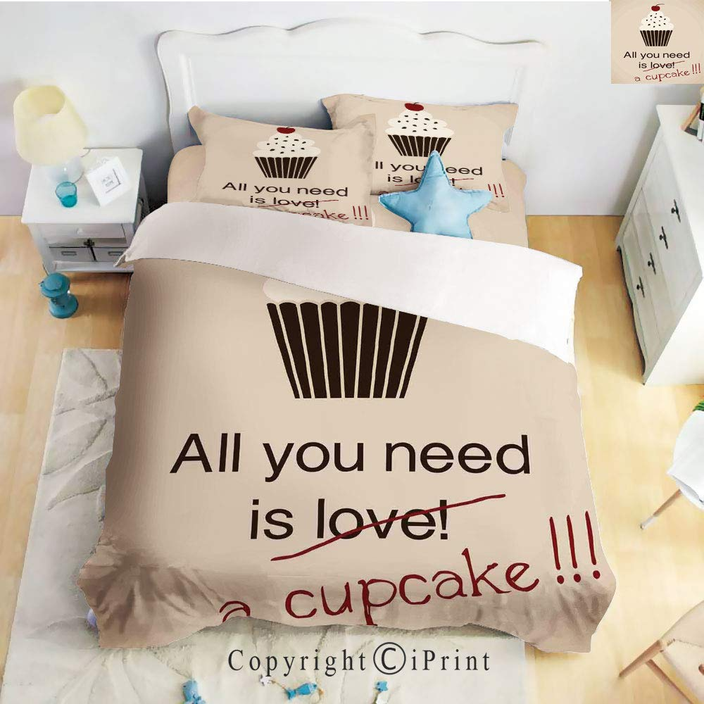 Home 4 Pieces Sheet Sets Microfiber Soft Wrinkle Fade Resistant,All You Need is Love and Cupcakes Vintage Bakery Card Food Concept Cherry on Top,Cream Pastel Red,Twin Size by Homenon