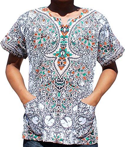 Thai Cotton Ladies Shirts (Raan Pah Muang RaanPahMuang Unisex Cotton Shirt Africa Dashiki Detailed Art Vibrant Colors Plus Size, XXXXXXX-Large, White Black)