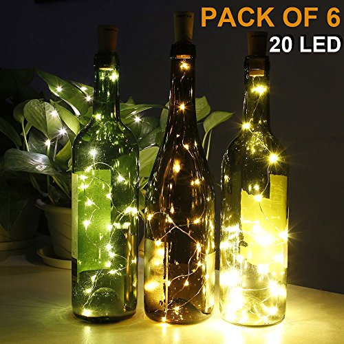 CYLAPEX Pack of 6 Wine Bottle Lights, with 20 LEDs on 3.3FT Copper Wire, Fairy Lights String with Cork for Wine Bottle DIY, Wedding, Party, Christmas, Halloween, LED Decor or Night Lights, Warm White (Wine Bottle Decoration Ideas)