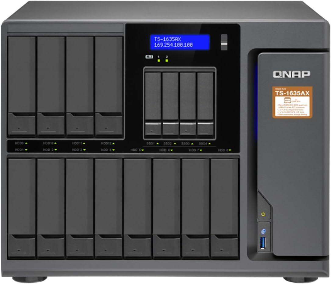QNAP TS-1635AX-4G-US 12+4 Bay, Marvell Armada 8040 Quad-core 1.6GHz, 4GB DDR4 RAM, 2X M.2 2280 SATA Slots, 2X 10GbE SFP+ LAN, 2X GbE LA