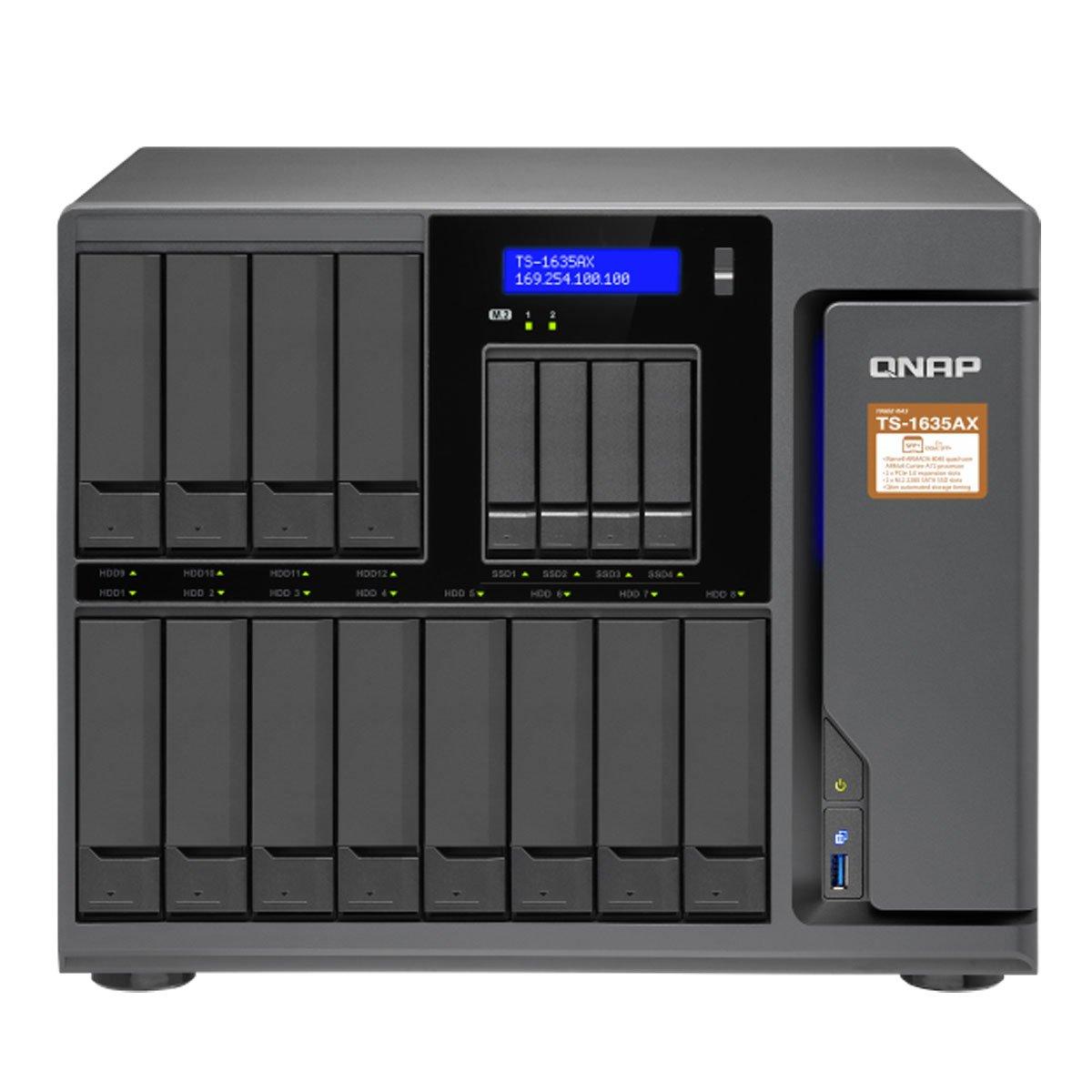 QNAP TS-1635AX-4G-US 12+4 Bay, Marvell Armada 8040 Quad-core 1.6GHz, 4GB DDR4 RAM, 2X M.2 2280 SATA Slots, 2X 10GbE SFP+ LAN, 2X GbE LA by QNAP