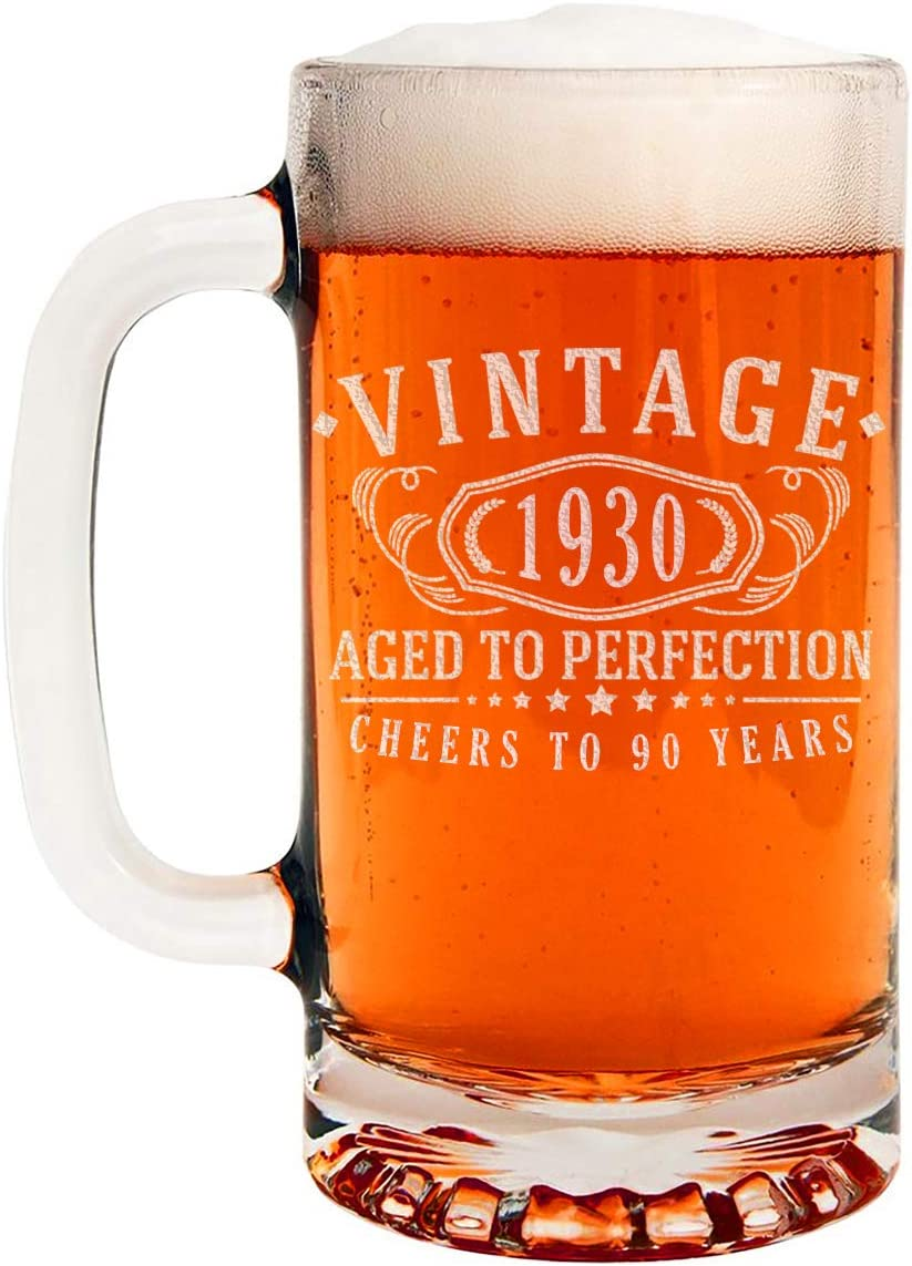 90th Birthday Aged to Perfection Vintage 1930 Etched 16oz Glass Beer Mug 90 Years Old Gifts