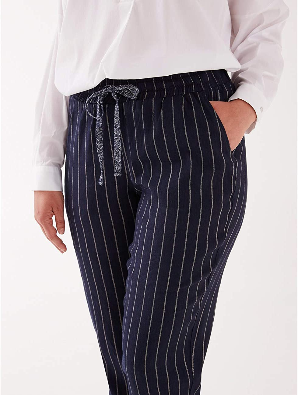 Pantaloni Joggers gessati Italian Plus Size Fiorella Rubino