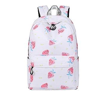 Lindo mujeres impermeable Mochila escolar fresa imprimir patrones de viaje de gran capacidad Girls College Bookbag: Amazon.es: Equipaje