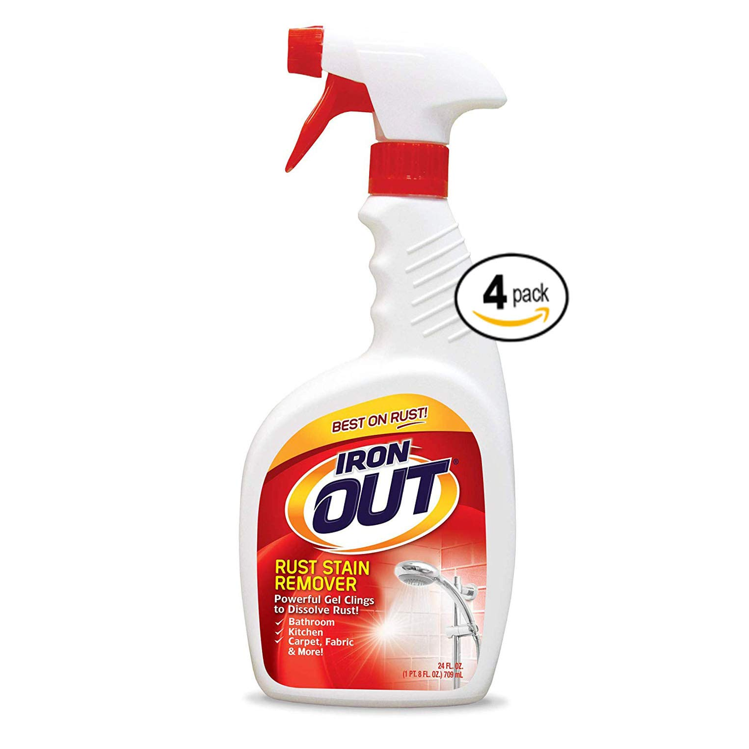 Iron OUT Rust Stain Remover Spray Gel, 24 Fl. Oz. Bottle,4 Count