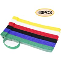 ENVEL Reusable Fastening Cable Ties, Adjustable Cord Ties for Cable Management Cord Organizer Straps(60pcs)