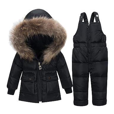 LPATTERN Chaqueta Plumas de Nieve para Bebé Niños Abrigo Acolchado con Capucha + Pantalones de Tirante: Amazon.es: Ropa y accesorios