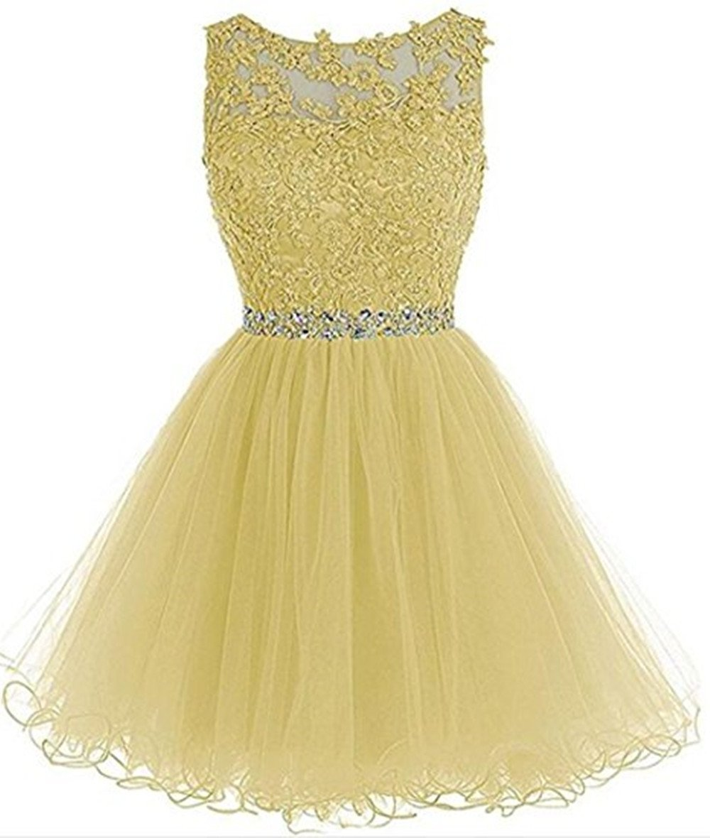 568aa0663db3 Women's Sleeveless Homecoming Dresses Short Net Bridesmaid Dresses  Appliques Evening Cocktail Gowns Yellow,Size 14