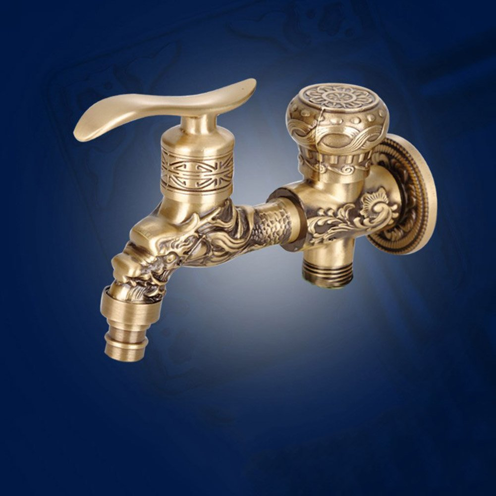 RREN-faucet Version /étendue de la Double Sortie Robinet Antique cuivre Dragon sculpt/é Robinet Salle de Bains vadrouille Robinet Machine /à Laver Robinet Jardin ext/érieur Robinet