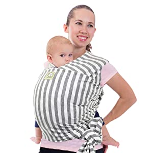 Baby Wrap Carrier All-in-1 Stretchy Baby Wraps - Baby Sling - Infant Carrier - Babys Wrap - Hands Free Babies Carrier Wraps - Baby Shower Gift (Gray Stripes)