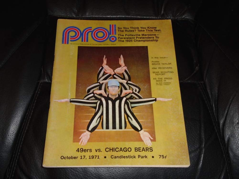1971 CHICAGO BEARS AT SAN FRANCISCO 49ERS NFL FOOTBALL PROGRAM