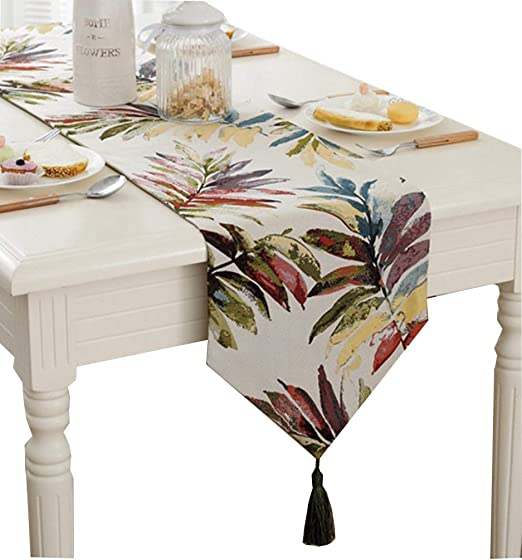Amazon Com Zebrasmile Various Sizes 100 Polyester Leaves Table Runners With Tassels For Dining Table Decoration Home Decor 13 X 80 Inches Home Kitchen