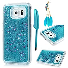 MOLLYCOOCLE Galaxy S6 Case,Luxury Bling Sparkle Glitter Powder Shell Star Quicksand Flowing Liquid Hard PC Plastic Protective Cover for Samsung Galaxy S6 - Blue