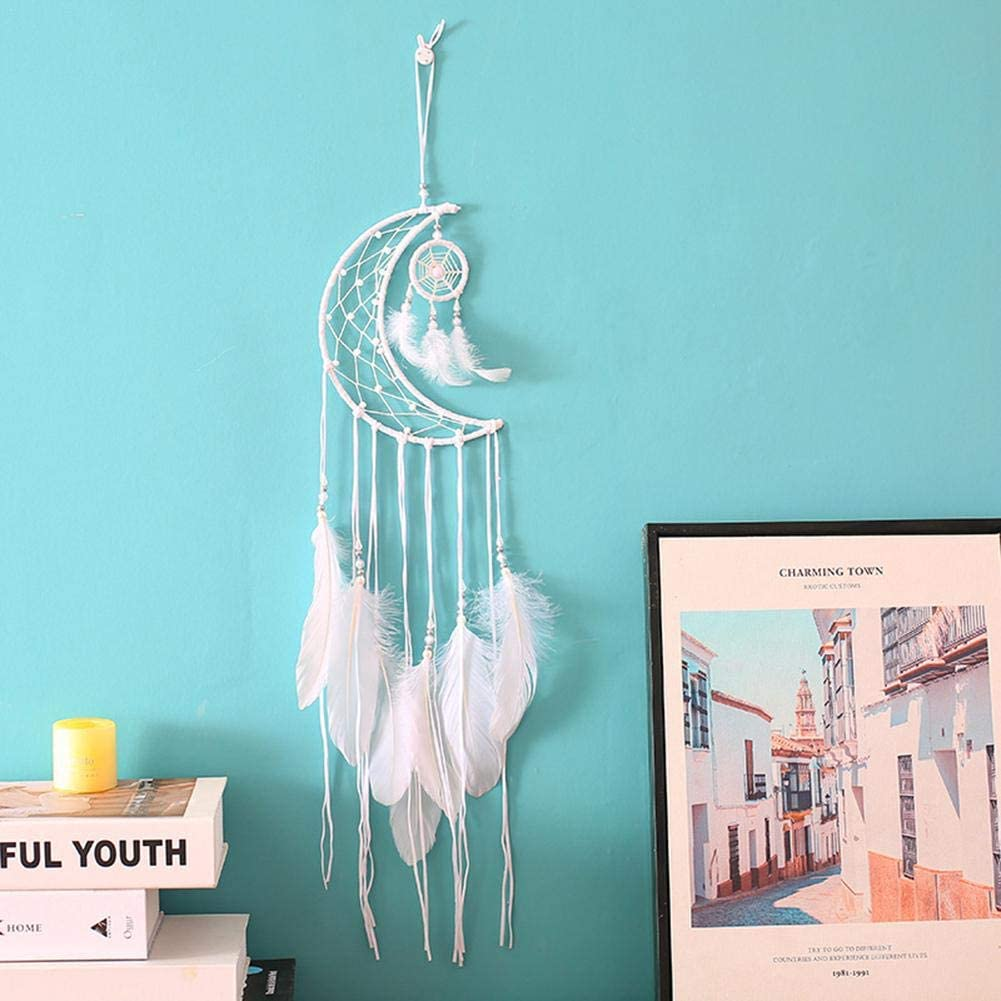 White Dream Catcher Handmade Half Circle Moon Design with Elegant ...
