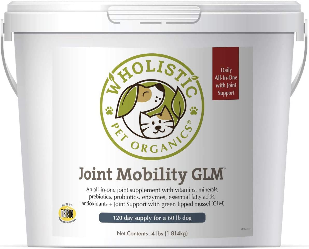 Wholistic Pet Organics Joint Supplement: Joint Mobility with Green Lipped Mussel Daily Joint Health Supplements for Dogs - Dog Glucosamine Powder with MSM, Probiotics, Vitamins, Minerals - 4 Lb