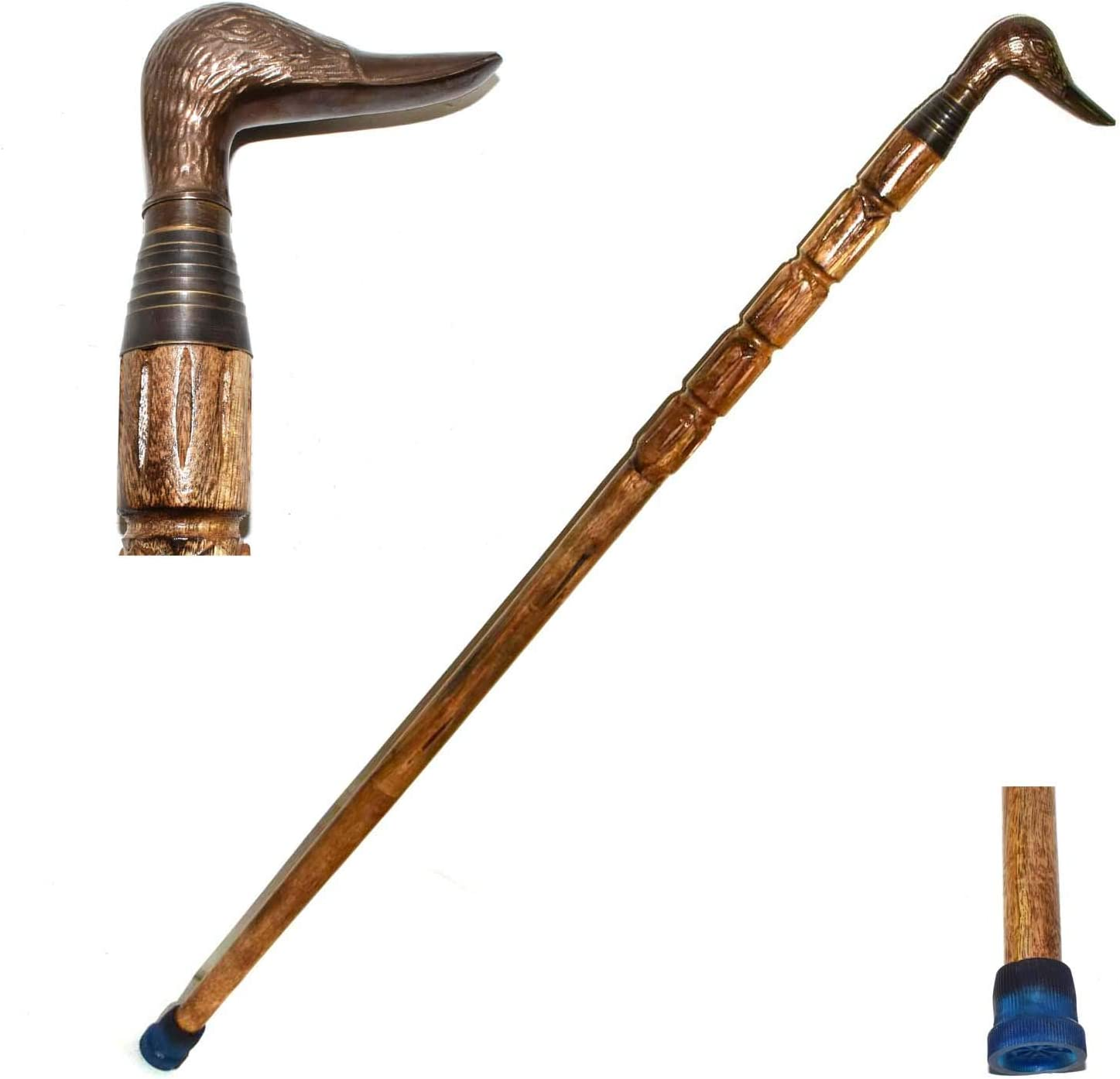 Victorian Brass Silver Head Handle Style Vintage Walking Stick Wooden Cane Gift