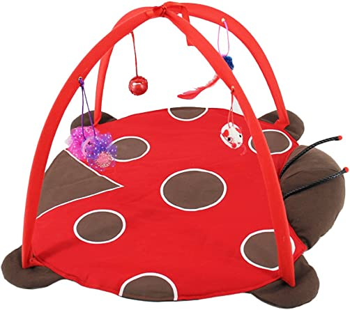 POPETPOP Foldable Cat Activity Center with Hanging Toys – Multifunctional Pet Play Tent with Hanging Interactive Cat Toy – Pet Bed House for Cat Kitten Get Exercise Tortoise