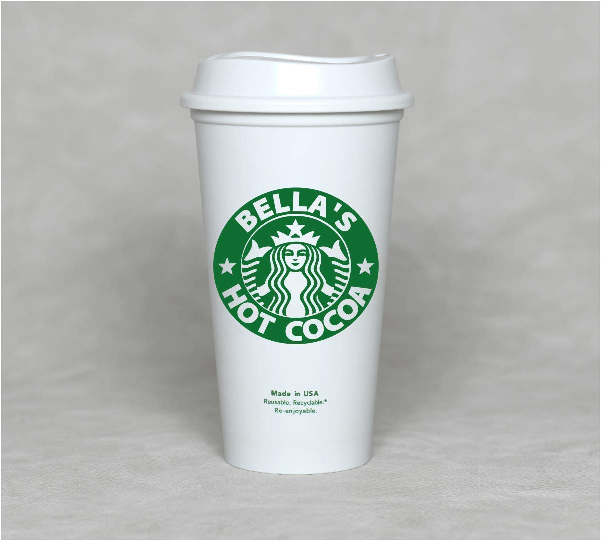 Personalized 16 oz Reusable Coffee Cup Grande Hot Cup with Custom Name and Lids//Sleeves.