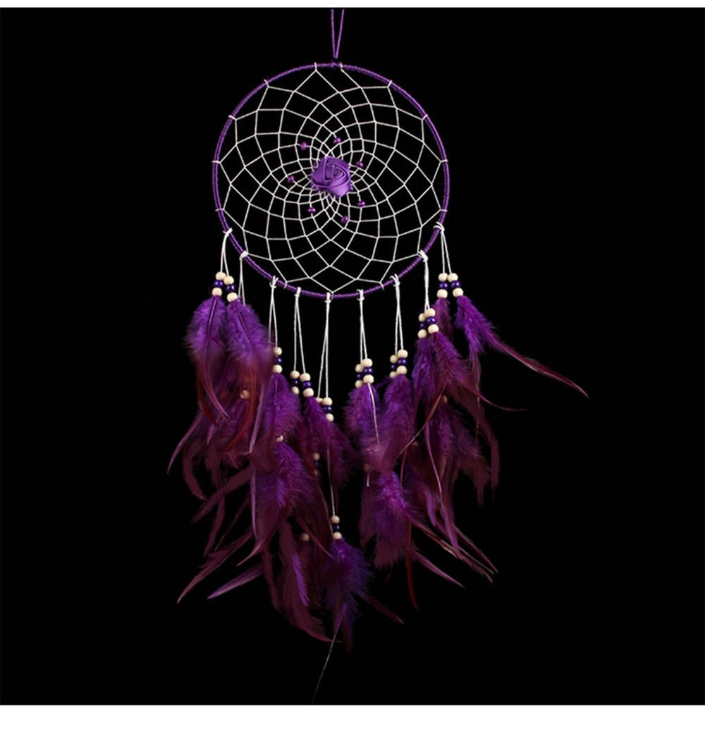 Large Indian circle Dream catcher Wind Chimes Purple Feather Traditional Style Pendant wall hanging home decoration Gift