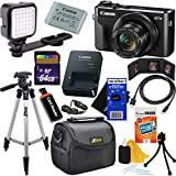 "Canon PowerShot G7 X Mark II Digital Camera w/1"" Sensor, Tilt LCD Screen, Wi-Fi & NFC Enabled (Black) International Version + LED Light + 12pc 64GB Deluxe Accessory Kit w/HeroFiber Cleaning Cloth"
