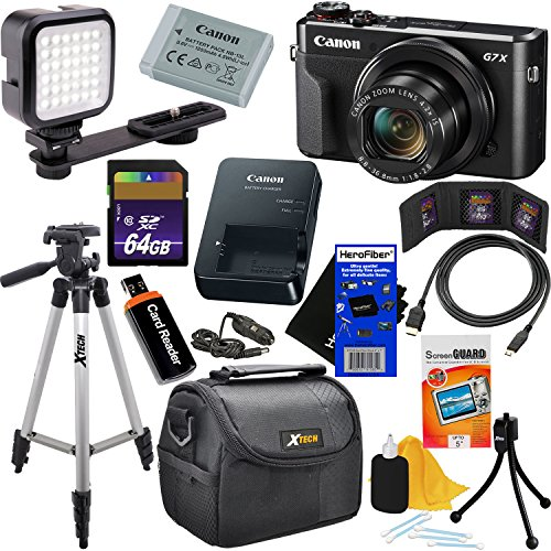 "Canon PowerShot G7 X Mark II Digital Camera w/ 1"" Sensor, Tilt LCD Screen, Wi-Fi & NFC Enabled (Black) International Version + LED Light + 12pc 64GB Deluxe Accessory Kit w/HeroFiber Cleaning Cloth"
