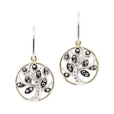 feff5400be60 Pendientes Colgantes con ganchos para Mujer Arbol de la Vida 925 1000 plata  y Cristal Swarovski Elements Blanco y Negro - CRY R2312 S - Blue Pearls  ...
