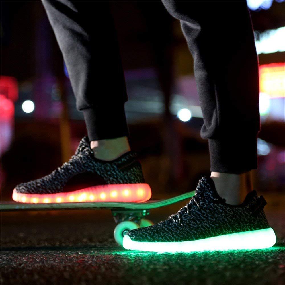 Aidonger Unisex Turnschuhe Licht Luminous ein paar, rot, grün, füsse, seitlich, treppe