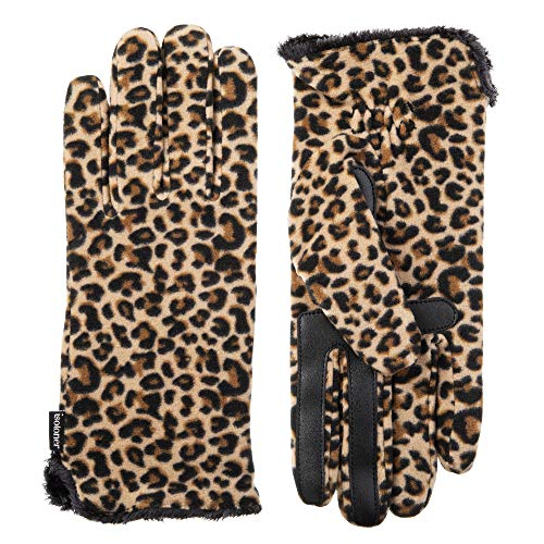 Isotoner Women's Stretch Fleece Touchscreen Texting Cold Weather Gloves with Warm, Soft Lining, smartDRI Leopard, Small/Medium