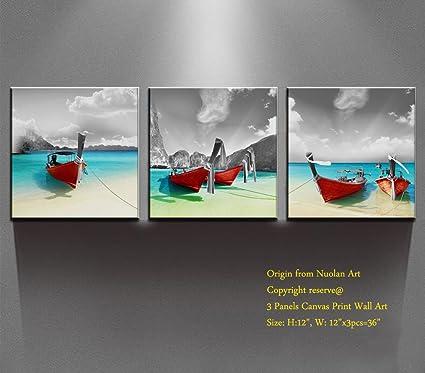 Amazon.com: Canvas Print Wall Art- Modern Art Ocean Decor Oil ...