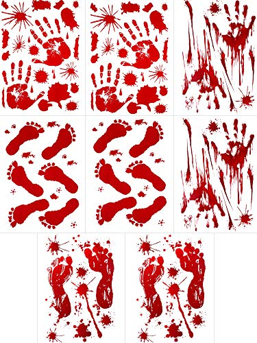 Gejoy 100 Pieces Bloody Footprints Floor Clings, Bloody Handprint Footprint Window Clings Decals, Bloody Handprint and Footprint Clings Horror Wall Floor Decor for Halloween (8 -