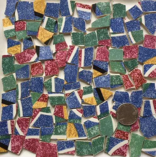Broken China Mosaic Tile Art Supply for Crafts ~ Red BlueYellow Green Tiles (T#A146)