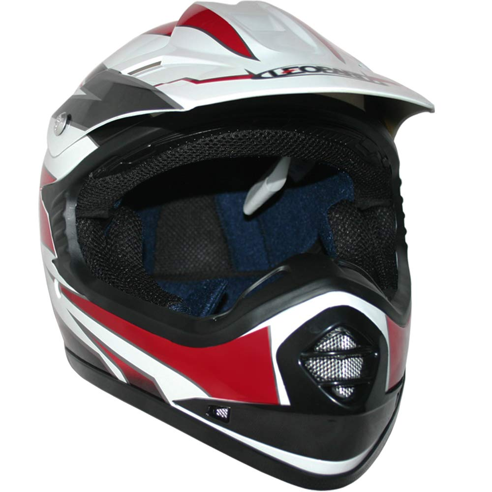 - Bicyclette ATV ECE 22-05 Approbation Leopard LEO-X16 Casque de Moto de Casques Motocross /& Gants de Moto /& Lunettes de Moto Rouge XL 55cm