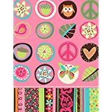 """Amscan Hippie Chick Table Cover Birthday Party Tableware Decoration Supply (1 Piece), 54"""" x 102"""", Multicolor"""