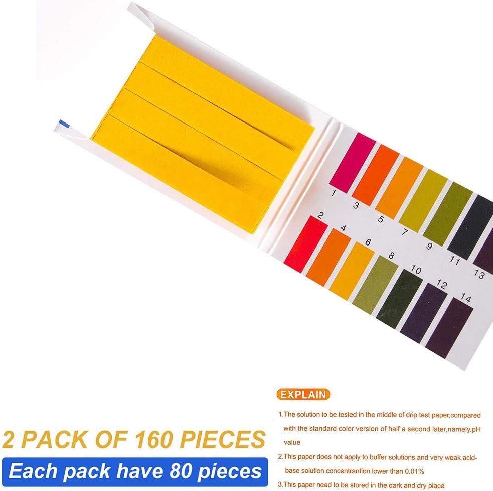 160 pezzi strisce reattive indicatore di valore pH cartina di tornasole universali 1-14 strisce pH per test carta per test dellacido alcalino valore pH per testare molte sostanze quotidiane