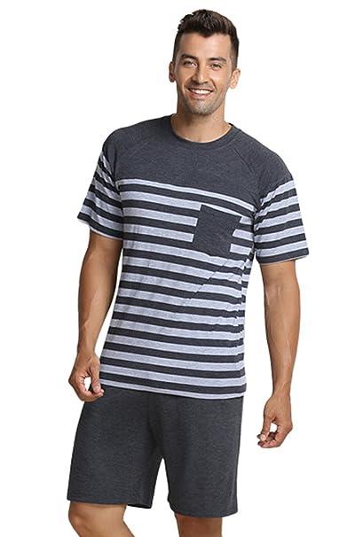 QianXiu Verano Conjunto de Ropa de Dormir Pijamas para Hombre Ropa de Dormir Rayada Ropa Interior