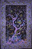 India Arts Tree of Life Tapestry Cotton Spread 102'' x 70'' Twin Purple