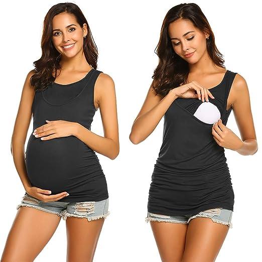 Unibelle Still-Shirt/Umstandstop, Schwangeres Stillen Nursing Schwangerschaft Top Umstandsmode Lagendesign Wickeln-Schicht
