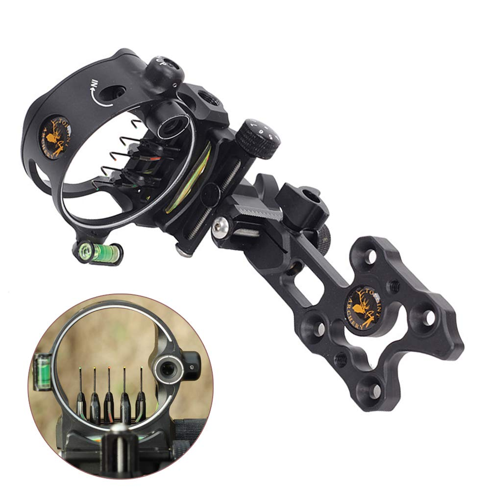 ZSHJG Archery Bow Sight 5 Pin 0.019 Optical Fiber Retinal Sight CNC Aluminum Horizontal Vertical Adjustment for Compound Bow Sight Accessory (Short Black) by ZSHJG
