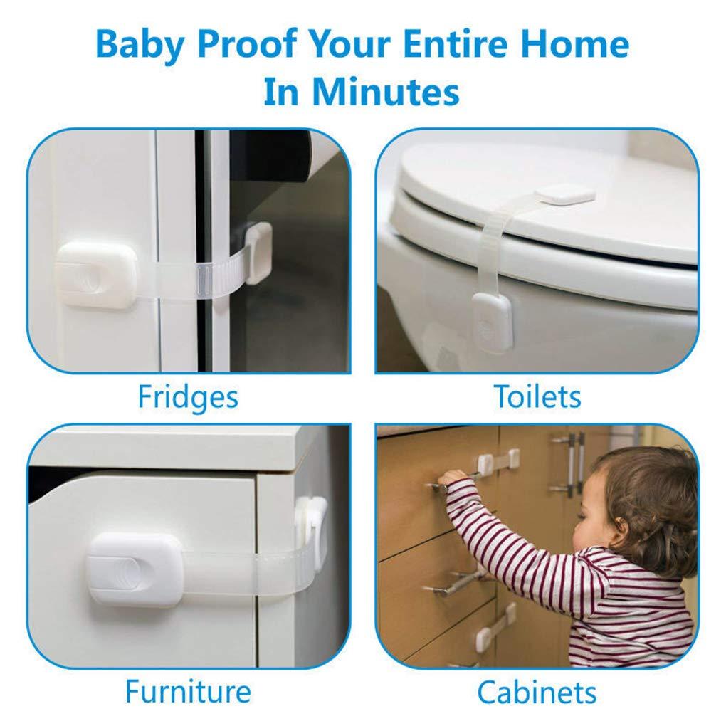 F-blue 12pcs Verrouillage Protection tiroir de Verrouillage Cabinet de s/écurit/é Toddler Baby Lock R/éfrig/érateur Placard Fen/être Garde-Robe Stopper