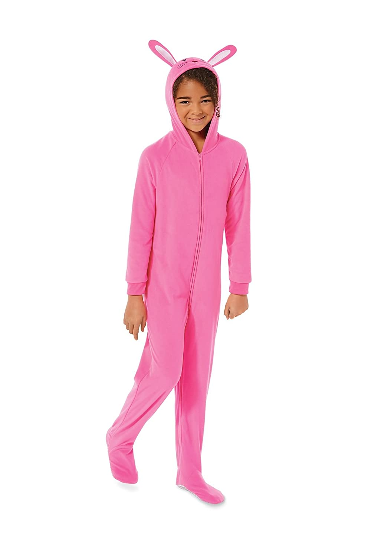 Girls Joe Boxer Hot Pink Hooded Bunny Rabbit Sleeper Fleece Pajamas
