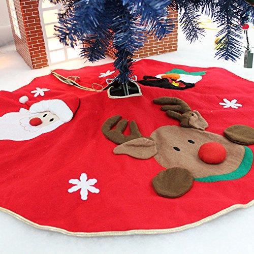 ASOON Christmas Tree Skirt with Santa,Snowman and Reindeer,42 inches Tree Skirts for Christmas Holiday Decoration