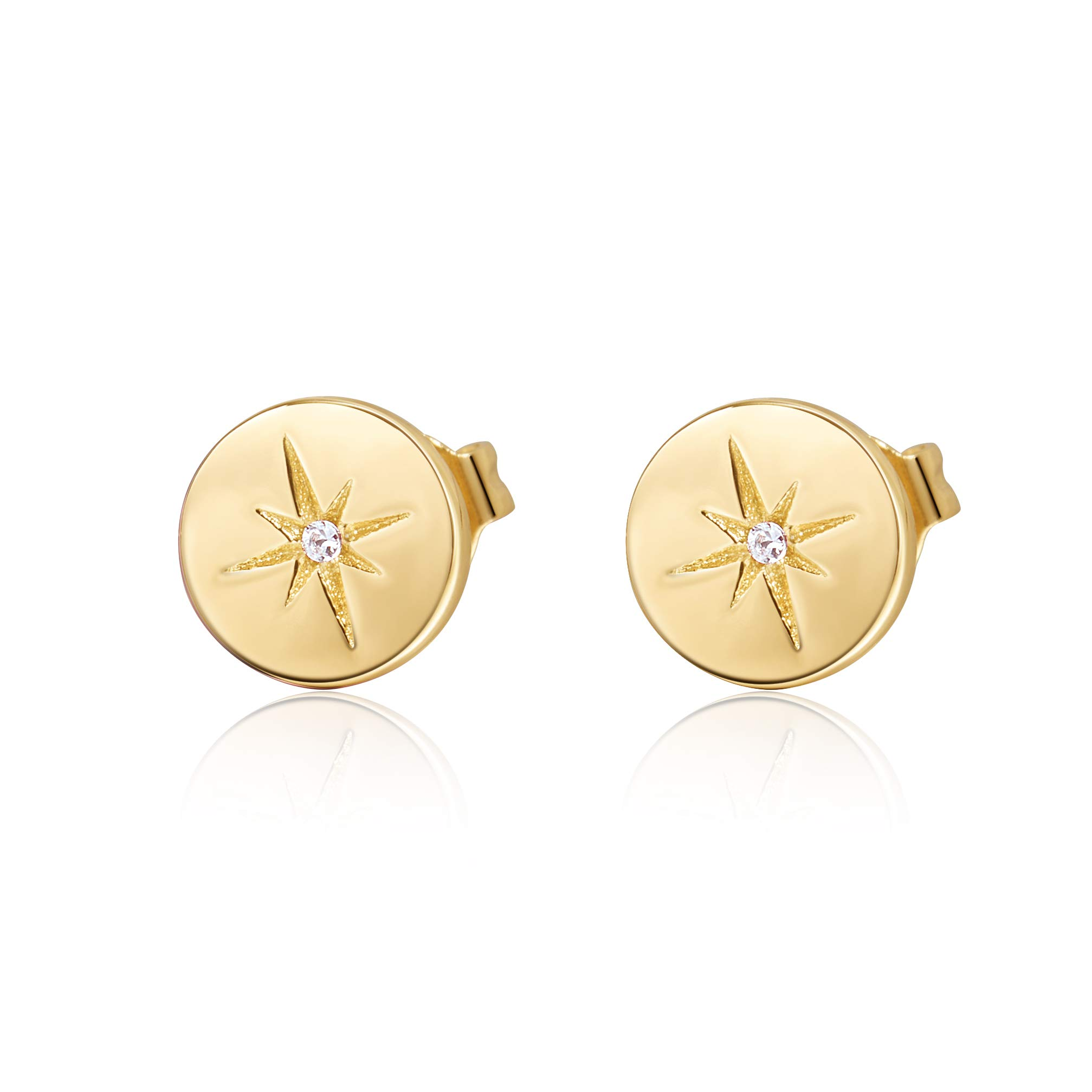 S.Leaf Minimalist Circle Hexagram Star Earrings Round Disc Stud Earrings for Woman (gold)