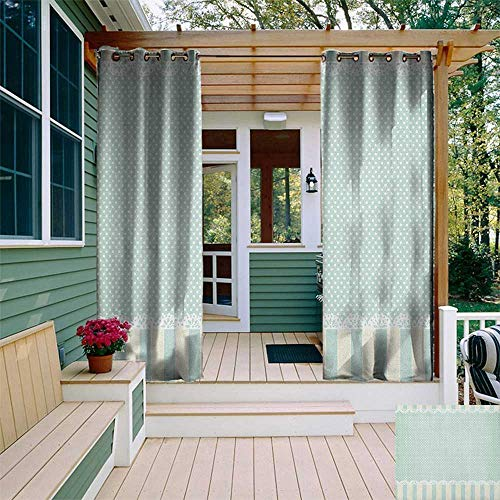 leinuoyi Shabby Chic, Outdoor Curtain Set, Traditional Old Fashioned Vertical Stripes Ornaments and Dots, Outdoor Curtain for Patio Furniture W108 x L108 Inch Almond Green Cream ()