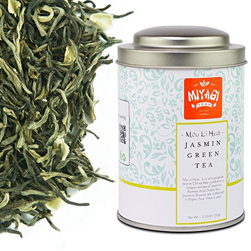 Miyagi Tea - Mou Li Hua Premium Jasmin Tea - Loose Leaf Green Tea - 3.52oz (100g) / tin can (Powder Green Blueberry Stash Tea)