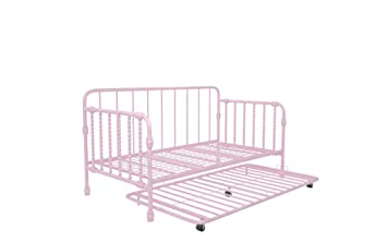 Astounding Little Seeds Monarch Hill Wren Metal Daybed With Trundle Sofa Bed Twin Size Frame Pink Andrewgaddart Wooden Chair Designs For Living Room Andrewgaddartcom