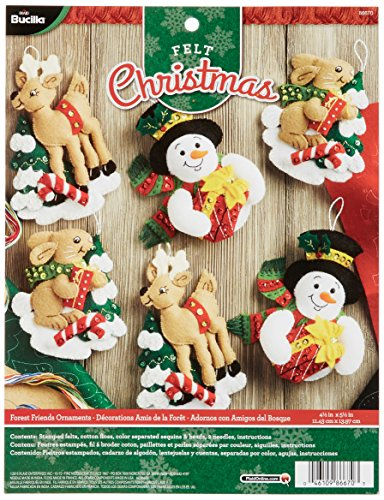 Bucilla Felt Applique Ornament Kit, 4.5 by 5.5-Inch, 86670 Forest Friends (Set of (Bucilla Ornaments)