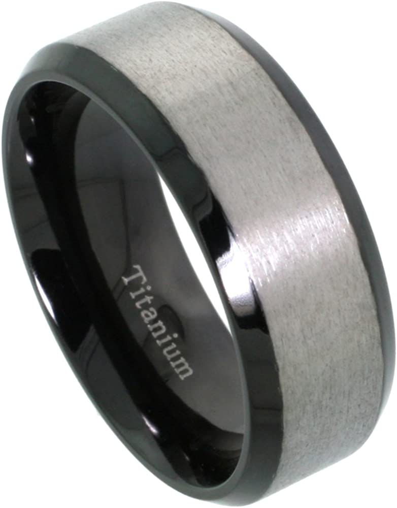 Sabrina Silver 8mm Black Titanium Wedding Band Two-Tone Ring Brushed Center Beveled Edges Comfort Fit Sizes 7-14