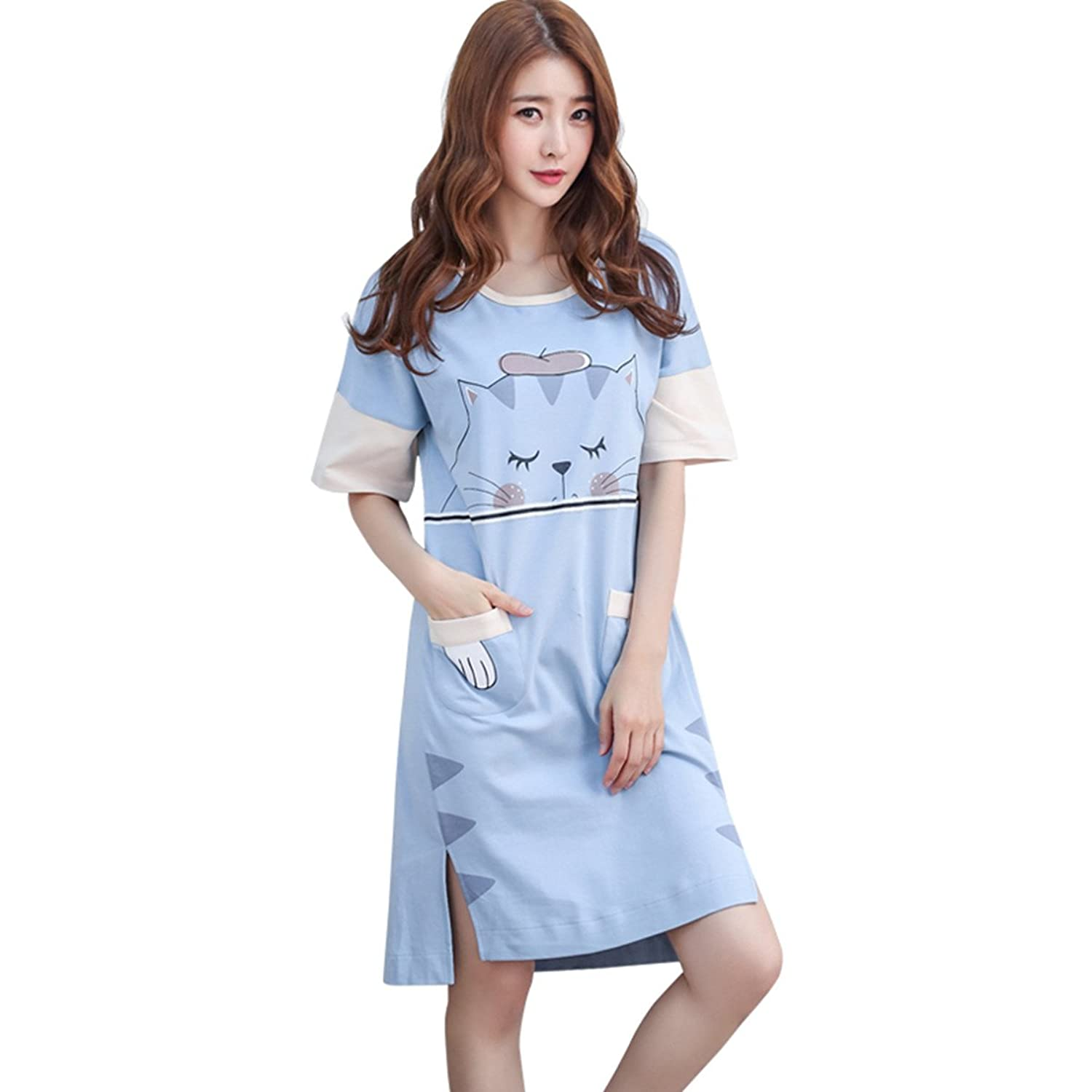 Women s Short Sleeve Nightgown Cotton Sleep Dress Cute Sleepwear Pajamas e09a9cede