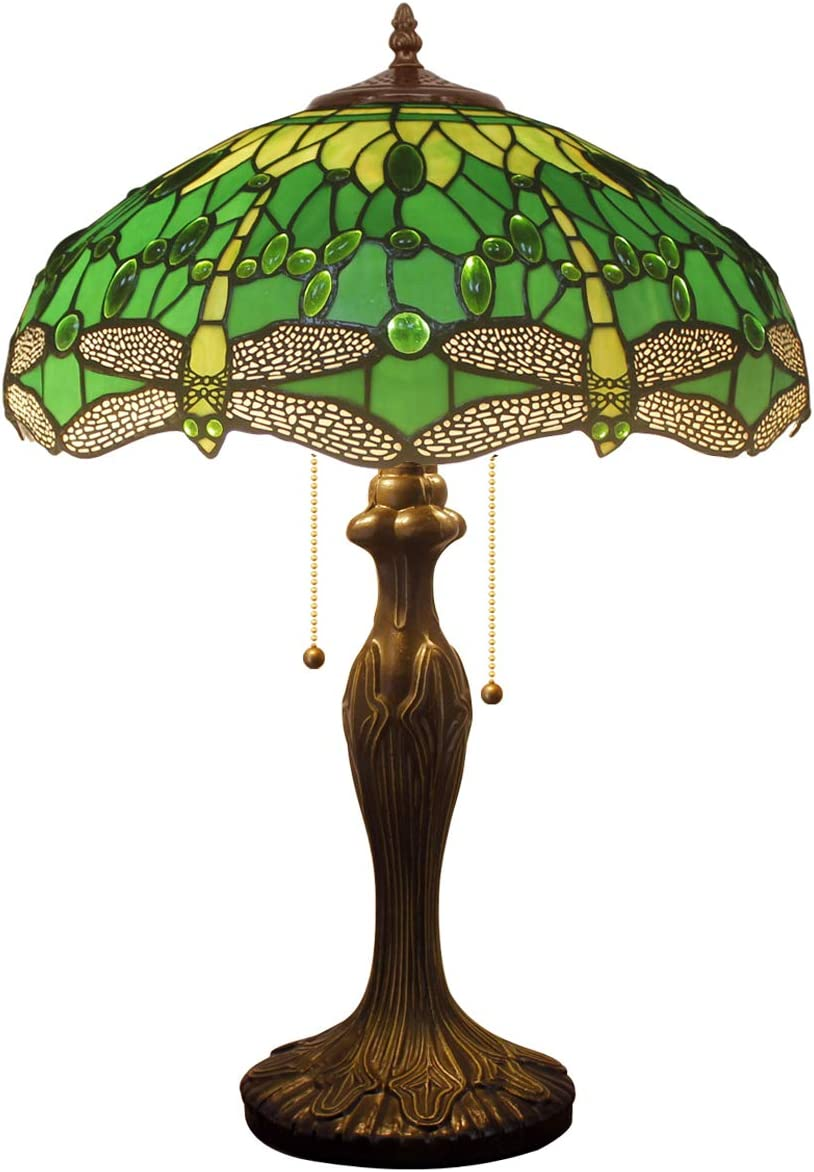 Tiffany Style Table Desk Beside Lamp 24 Inch Tall Green Stained Glass Shade Crystal Bead 2 Light Antique Zinc Base for Living Room Bedroom Dresser Bookcase S459 WERFACTORY