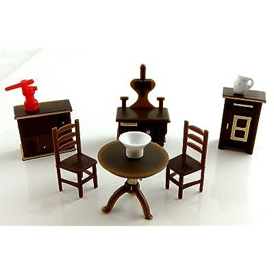 Dollhouse Miniature 1:48 Scale Plastic Kitchen Furniture Set: Toys & Games